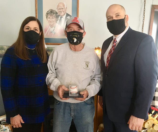 Pennsylvania State Senator Lisa Baker (left) and Representative Jonathan Fritz (right) visited Ed Jonas of Cold Spring this week. The local politicians dropped by the family farm to honor Ed for being a member of the very first Little League World Series championship team back in 1947.