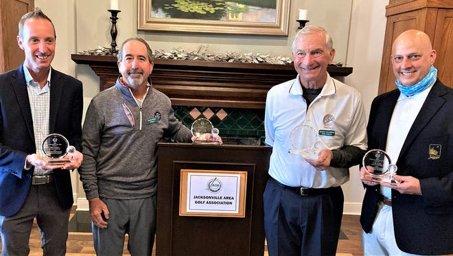 The Jacksonville Area Golf Association named its 2020 award winners on Jan. 5 at San Jose. From the left are pro of the year Tim Cooper of Deerwood, JAGA director of the year Randy Nader, Earl and Eleanor Kelly Lifetime Achievement Award, George Halvorsen of Marsh Landing and club executive of the year C.W. Cook of Sawgrass. Not present is Players executive director Jared Rice, community service award recipient.