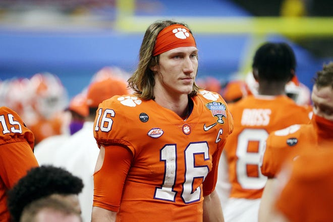 Clemson quarterback Trevor Lawrence (16) looks on in the second half against Ohio State during the College Football Playoff semifinal game at the Allstate Sugar Bowl at Mercedes-Benz Superdome in New Orleans on January 1, 2021. (Chris Graythen/Getty Images/TNS)