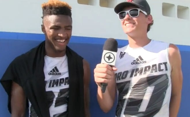 Ohio State cornerback Shaun Wade (left) and Alabama quarterback Mac Jones together as 7-on-7 teammates with Pro Impact. The two Jacksonville natives, who graduated from Trinity Christian and Bolles, respectively, are scheduled to meet in the national championship game on January 11, 2021. [Provided by Andrew Franklin]