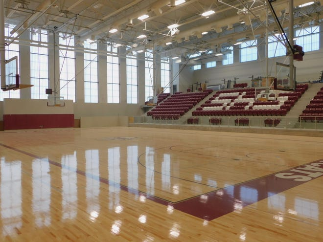 A shot from the new gymnasium at Sherman High School.