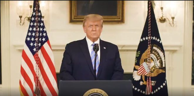 President Donald Trump addresses the nation in a video posted to his Twitter account on Thursday, Jan. 7, 2020. On Friday, social media platform Twitter suspended his account.