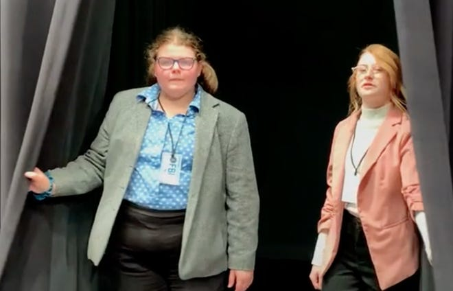 """""""FBI Investigators"""" Taylor Redington and Morgan Hiebert, students at Newton High School, will lead murder mystery participants through the virtual production of """"The Murder of Jessica Heidrick"""" by Newton Thespian Troupe No. 47 as a fundraiser for the troupe this month."""