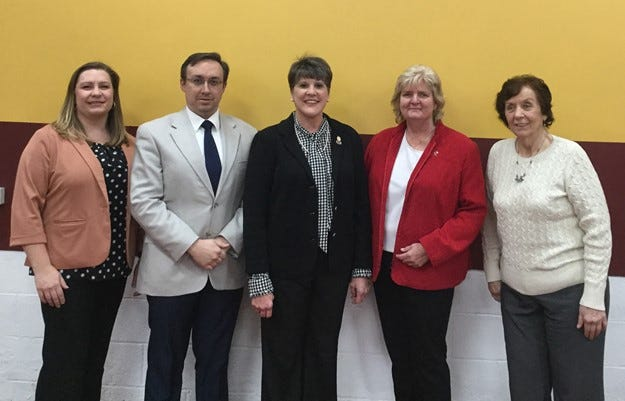 The Stow-Munroe Falls Board of Education has selected Jessica Wright, far left, as the president and Jason Whitacre, second from left, as the vice president for 2021.