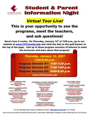 The Cuyahoga Valley Career Center will host a virtual open house Jan. 14, starting at 7 p.m.