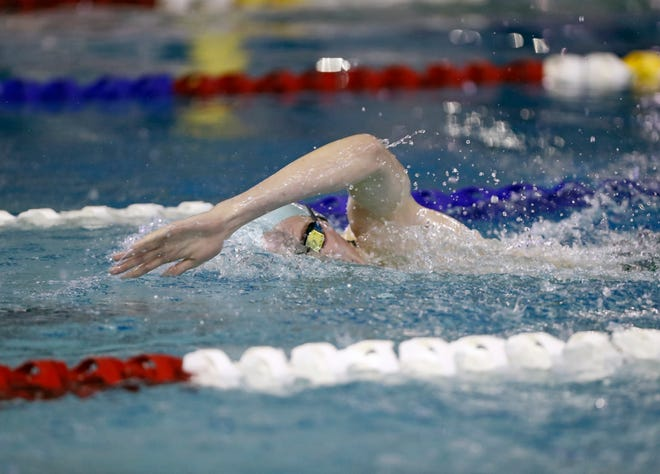 Monterey's Jon Boutwell swims in the 500-yard freestyle race during the Region I-5A meet Feb. 1, 2020, at the Pete Ragus Aquatic Center. Boutwell had a part in eight first-place finishes as the Plainsmen secured wins over Lubbock-Cooper, Tascosa and Amarillo High on Thursday at the Pete Ragus Aquatic Center.
