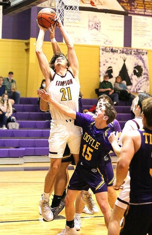 Simpson's Rhett Petre (21) scored 23 and 13 points in two games early this week for the Broncos, both of which were victories.