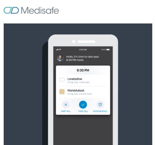 The Medisafe app helps keep track of prescriptions.