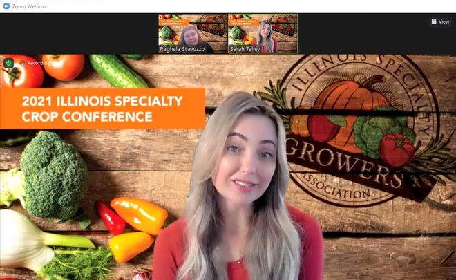 """Sarah Frey, the founder of Frey Farms in southern Illinois, speaks during the virtual keynote address Thursday of the Illinois Specialty Crop Conference. Frey was """"Pumpkin Queen of America"""" in a New York Times story."""