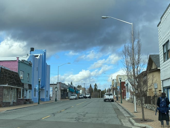 Weed's Main Street has several unoccupied buildings, including the iconic Place Theater, left, on Jan. 8, 2021.