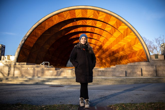 Percussionist/composer Maria Finkelmeier poses in front of Hatch Memorial Shell on Boston's Esplanade.