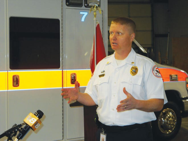 Nathan Sweet, Anderson County Emergency Medical Service director, talks to reporters at Station One in Clinton on Thursday.
