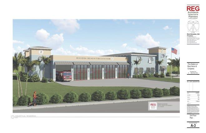 Future Riviera Beach fire station. [Artist's rendering courtesy of City of Riviera Beach]