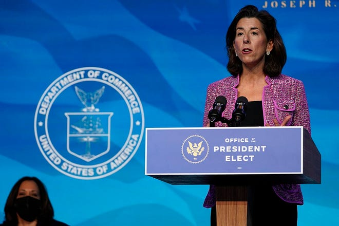 Gov. Gina Raimondo, President-elect Joe Biden's nominee for Secretary of Commerce, speaks during an event at The Queen theater in Wilmington, Del., on Friday.