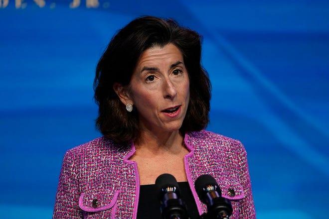 Rhode Island Gov. Gina Raimondo speaks in Wilmington, Delaware, on Friday after President-elect Joe Biden announced her as his pick for commerce secretary.