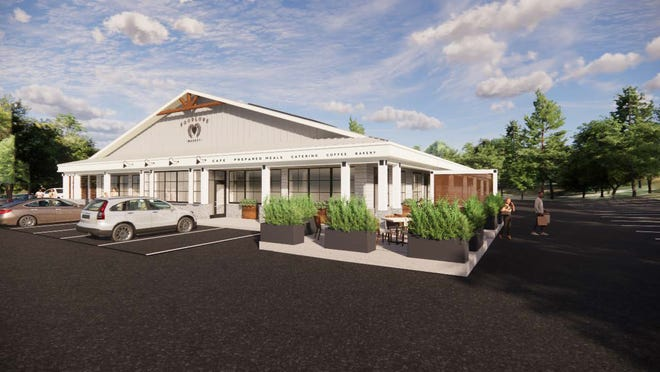 A rendering of the soon-to-be Foodlove, a new market being built in Middletown by the Newport Restaurant Group. It may open as soon as June.