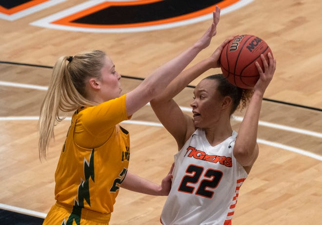 Pacific's Valerie Higgins, right, ihad a double-double with 21 points and 12 rebounds as the Tigers beat San Francisco 83-62 at Spanos Center in Stockton.