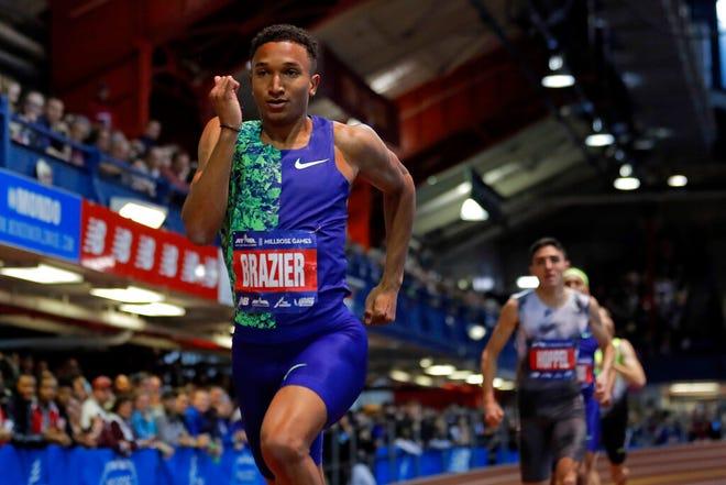 Donavan Brazier runs during the men's 800 meters at the Feb. 8Millrose Games in New York.