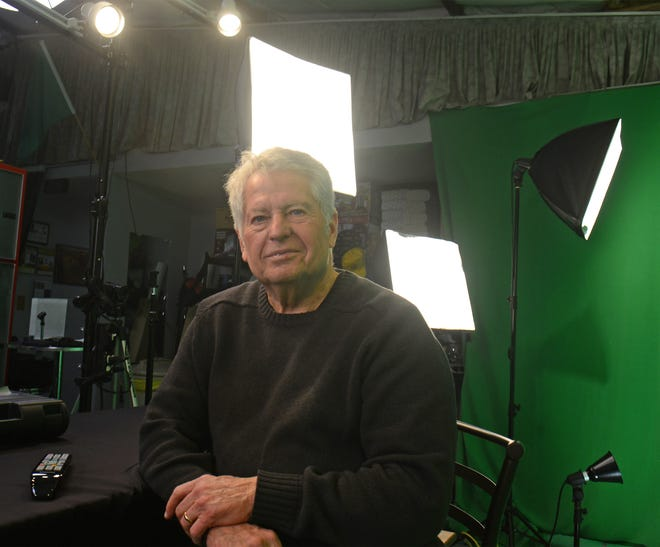 """Doug Thompson, owner of BDS Productions, interviews politicians and local nonprofits inside the video production studio located inside the Kansas Auto Racing Museum, 1205 Manor Drive in Chapman. BDS Productions will be broadcasting """"We Are Branson and We Miss You"""" worldwide as COVID-19 has slowed down the tourism industry."""
