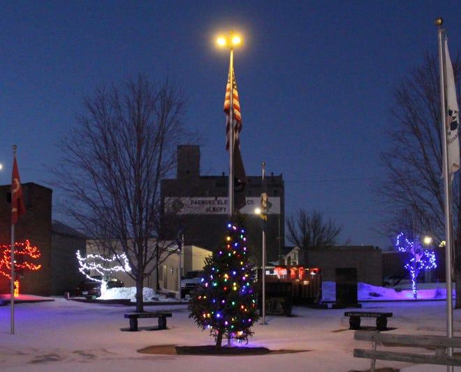 A lighted Christmas tree in Veterans Park to honor Sleepy Eye's veterans.