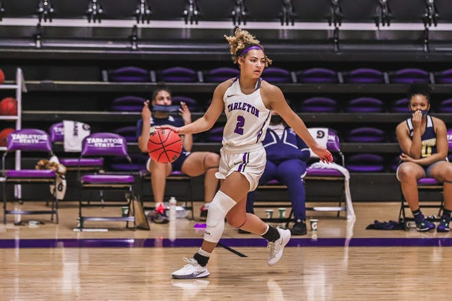 Tarleton's Iyana Dorsey dribbles the ball up court during a recent game. It was announced Thursday that the weekend games the Texans were to play against Grand Canyon were postponed due to two positive COVID-19 cases within the Texan program.