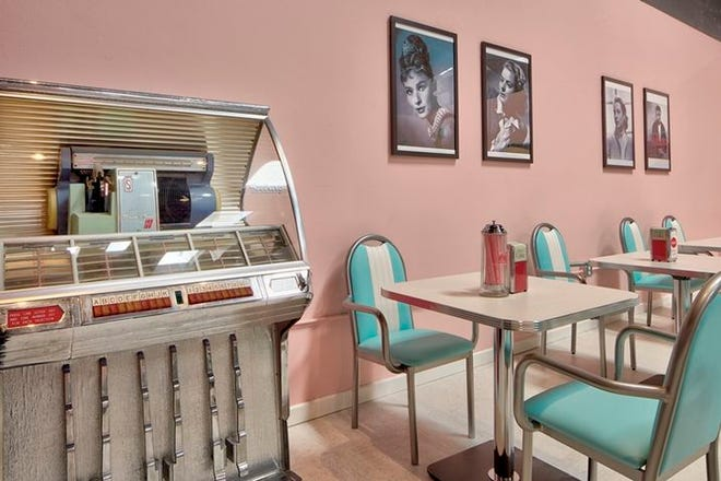 The Town Square senior day center near San Diego, California, has this 1950s-style diner. A Town Square is scheduled to open in Sarasota this summer.