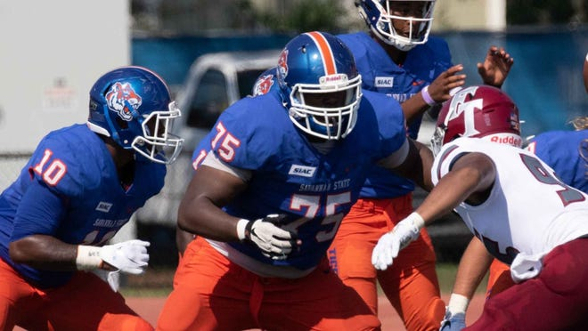 Savannah State offensive lineman Michael Johnson (75).