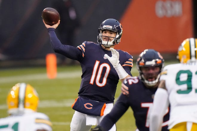 Chicago Bears' Mitchell Trubisky throws against the Green Bay Packers Sunday, Jan. 3, 2021, in Chicago.