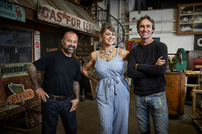 """Frank Fritz (left to right), Danielle Colby and Mike Wolfe star in History channel's long-running series """"American Pickers,"""" an antique hunting show that's headed to North Carolina in March 2021."""