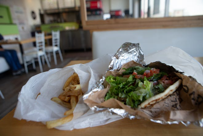 The traditonal gyro with a side of fries at Gyroville, 2855 S.W. Wanamaker Road, Suite 4698, is a healthier alternative to fast food for $10.37.
