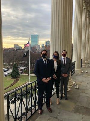 Photographed at the Statehouse, new legislators from Central Mass.: from left, State Sen. John Cronin, state Rep. Meghan Kilcoyne and state Rep. Michael Kushmerek