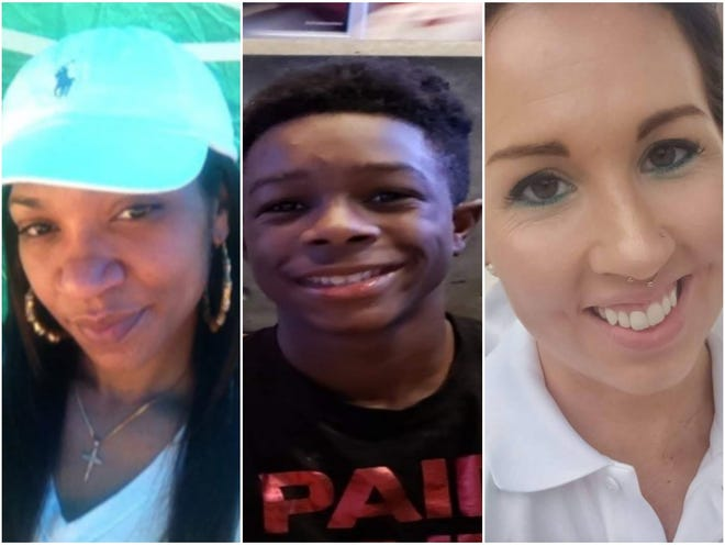 """From left are Brittany Irwin, Jimel """"Mister"""" Jones and Sarah Lewis, all of whom were killed in Fayetteville in 2020."""