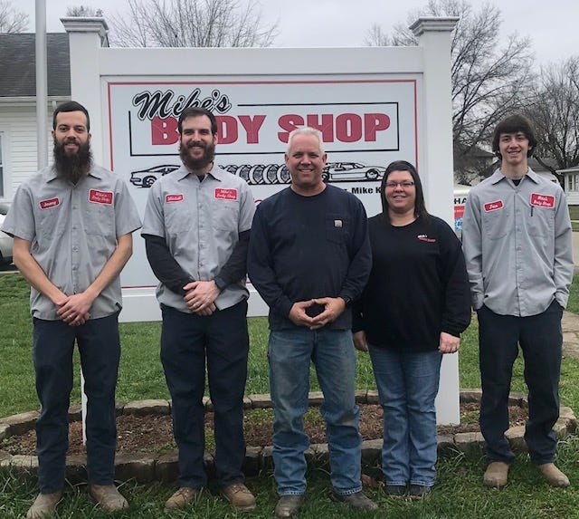 The staff at Mike's Body Shop includes Jeremy Ott (left), Mitchell Kehl, owner Mike Kehl, Office Manager Shannon Swigert and Jace Hickman.