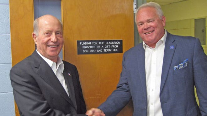 Don Hill (left), a 1964 Summa Cum Laude graduate of Louisiana College, is seen here with LC president Rick Brewer. Hill and his wife Terry have spent a lifetime giving back to LC.