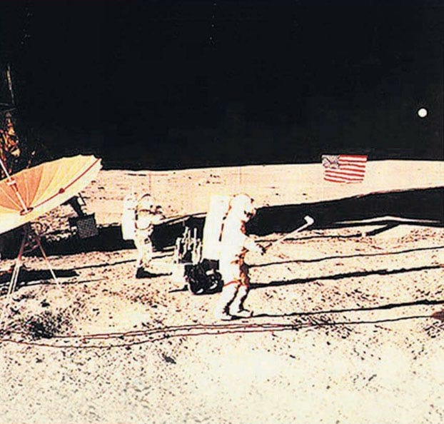 A still image of Alan Shepard's famous golf shot on the moon during the Apollo 14 mission in Feb. 1971.