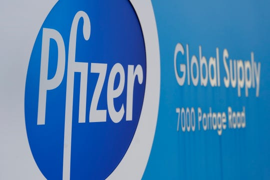 FILE - On Friday, December 11th, 2020, Pfizer Global Supply Kalamazoo factory sign file photos will be displayed in Portage.