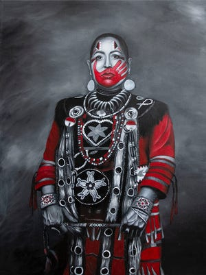 """Kimberly in RED"" by Nayana LaFond is featured in the exhibit ""We Are Still Here and This is Our Story."""