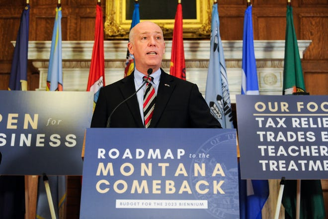 Gov. Greg Gianforte talks about his administration's budget proposal in the Governor's Reception Room on Thursday, Jan. 7, 2021. (Thom Bridge/Independent Record via AP)