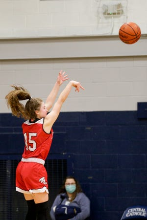 Twin Lakes' Olivia Nickerson (15) goes up for a 3-pointer during the second quarter of an IHSAA girls basketball game, Thursday, Jan. 7, 2021 in Lafayette.