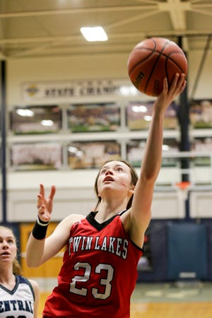 Twin Lakes' Addison Ward (23) goes up for a layup during the first quarter of an IHSAA girls basketball game, Thursday, Jan. 7, 2021 in Lafayette.