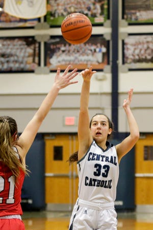 Central Catholic's Caitlin Dineen (33) goes up for a 3-pointer during the fourth quarter of an IHSAA girls basketball game, Thursday, Jan. 7, 2021 in Lafayette.