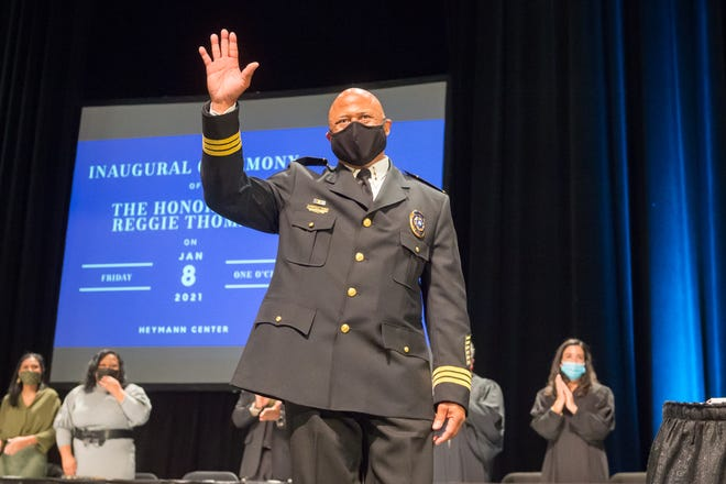 History is made at the Heymann Center in Lafayette, LA as Reggie Thomas is sworn in as City Marshal becoming the first city-wide Black elected official. January 8, 2021.
