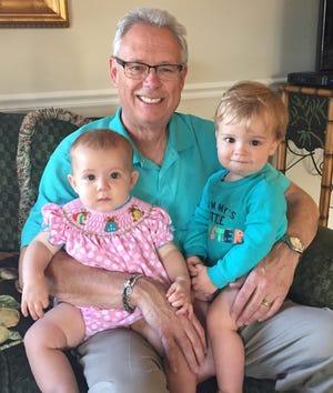 Bill Platten with his grandchildren Evelyn Caswell (left) and Jonah Long.