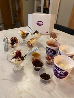 Purple Door Ice Cream's sundae survival kit has the makings for 10 to 12 desserts.