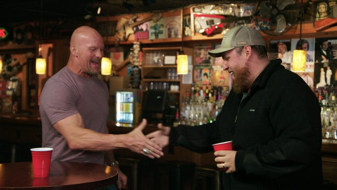 Steve Austin and Luke Combs talk at Legends Corner in Downtown Nashville on Austin's TV series, 'Straight Up Steve Austin'