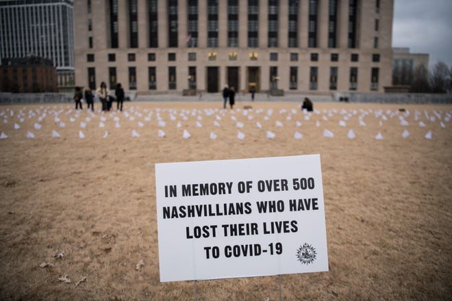 Flags are placed at Public Square Park in Nashville, Tenn., Friday, Jan. 8, 2021. Five hundred small, white flags were placed on the lawn of the park outside of the Metro Courthouse as Nashville reached more than 500 deaths from COVID-19.