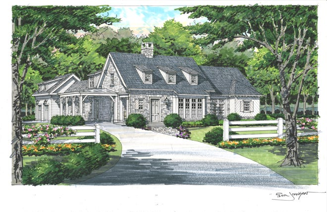 This English cottage-style home, designed by Nashville architect Catherine Sloan, has been framed and is well-under construction on a 5.98 acre home site.