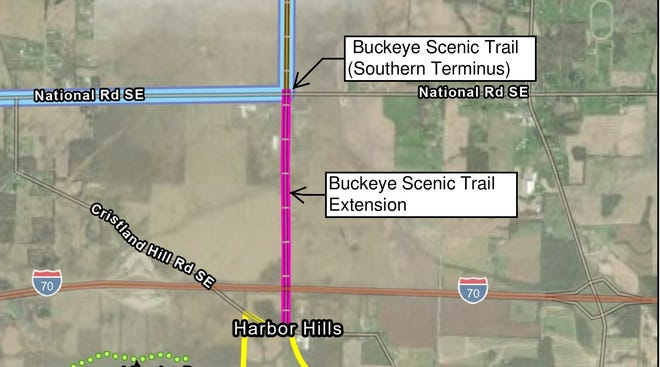 The proposed extension of the Buckeye Scenic Trail across U.S. 40 to Christland Hills Road.
