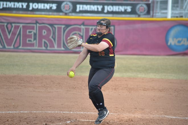 Former Aztec pitcher Paige Adair tallied three complete games in just eight appearances in Colorado Mesa University's shortened 2020 season, including back-to-back complete-game victories.