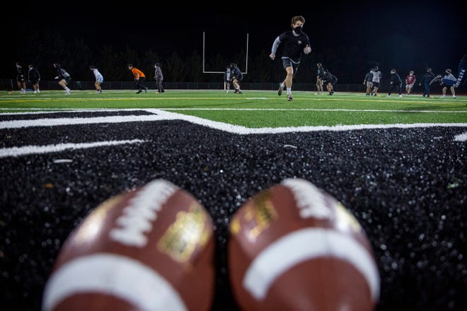 West Salem High School football team holds a practice as they gear up for a season that was delayed due to COVID-19 on Thursday, Jan. 7, 2021 in Salem, Oregon.